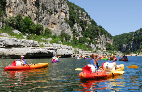Canoes on the Ardeche river